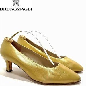 Bruno Magli Premium Golden Leather Pumps Sz 7.5B